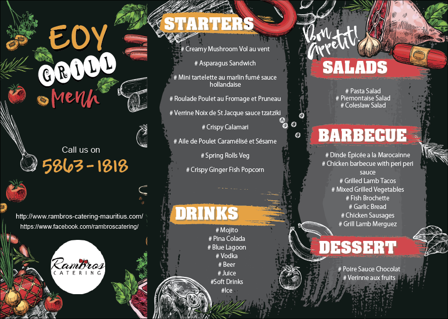 Rambros Catering Mauritius -Grill Menu